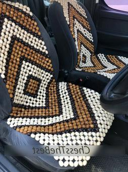 Beaded Car Seat Cover, Set of 2, Wooden Bead Seat For Front