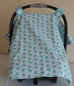 Handmade Turquoise Paisley Baby Car Seat Cover / Canopy for